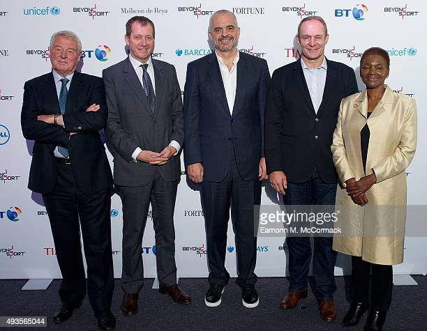 Lord Paddy Ashdown President of UNICEF UK Alastair Campbell Edi Rama Prime Minister of Albania Francois Pienaar and Baroness Valerie Amos attend the...