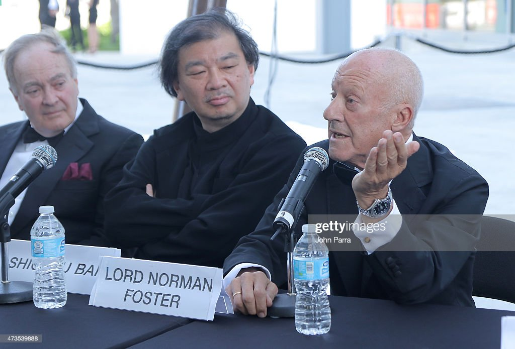 Lord Peter Palumbo, <a gi-track='captionPersonalityLinkClicked' href=/galleries/search?phrase=Shigeru+Ban&family=editorial&specificpeople=2094801 ng-click='$event.stopPropagation()'>Shigeru Ban</a> and Lord <a gi-track='captionPersonalityLinkClicked' href=/galleries/search?phrase=Norman+Foster&family=editorial&specificpeople=138395 ng-click='$event.stopPropagation()'>Norman Foster</a> speak during Pritzker Architecture Prize 2015 at New World Symphony on May 15, 2015 in Miami Beach, Florida.