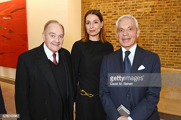 Lord Peter Palumbo Yana Peel and Simon Reuben attend a press view of 'Zaha Hadid Early Paintings And Drawings at The Serpentine Sackler Gallery on...