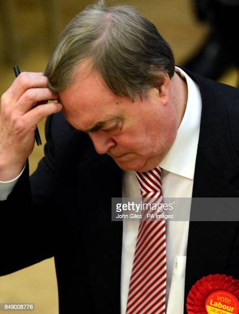 Lord Prescott reacts as during the vote count for the Police and Crime Commissioner in the Humberside Police Area in The Bridlington Spa following...