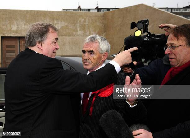 Lord Prescott reacts to a question posed by the waiting media as he arrives for the Police and Crime Commissioner declaration in the Humberside...