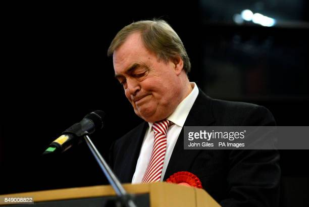 Lord Prescott speaks after losing to Matthew Grove after the vote for the Police and Crime Commissioner in the Humberside Police Area in The...