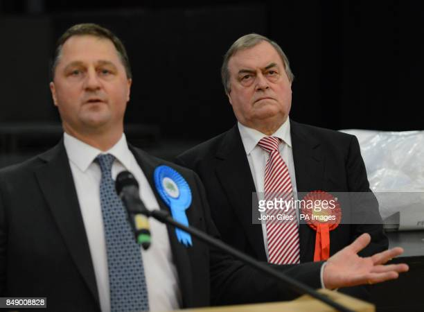 Lord Prescott stands next to the winning candidate Matthew Grove after the vote for the Police and Crime Commissioner in the Humberside Police Area...