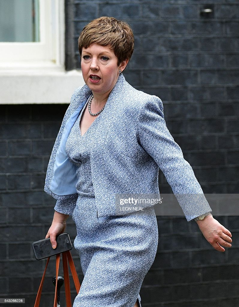 Lord Privy Seal and Leader of the British House of Lords Baroness Tina Stowell arrives to attend a cabinet meeting at 10 Downing Street in central London on June 27, 2016. European stock markets mostly slid Monday as British finance minister George Osborne attempted to calm jitters after last week's shock Brexit referendum. Britain's surprise referendum decision to leave the European Union wiped $2.1 trillion off market valuations on Friday and sent the pound collapsing to a 31-year low against the dollar. / AFP / LEON