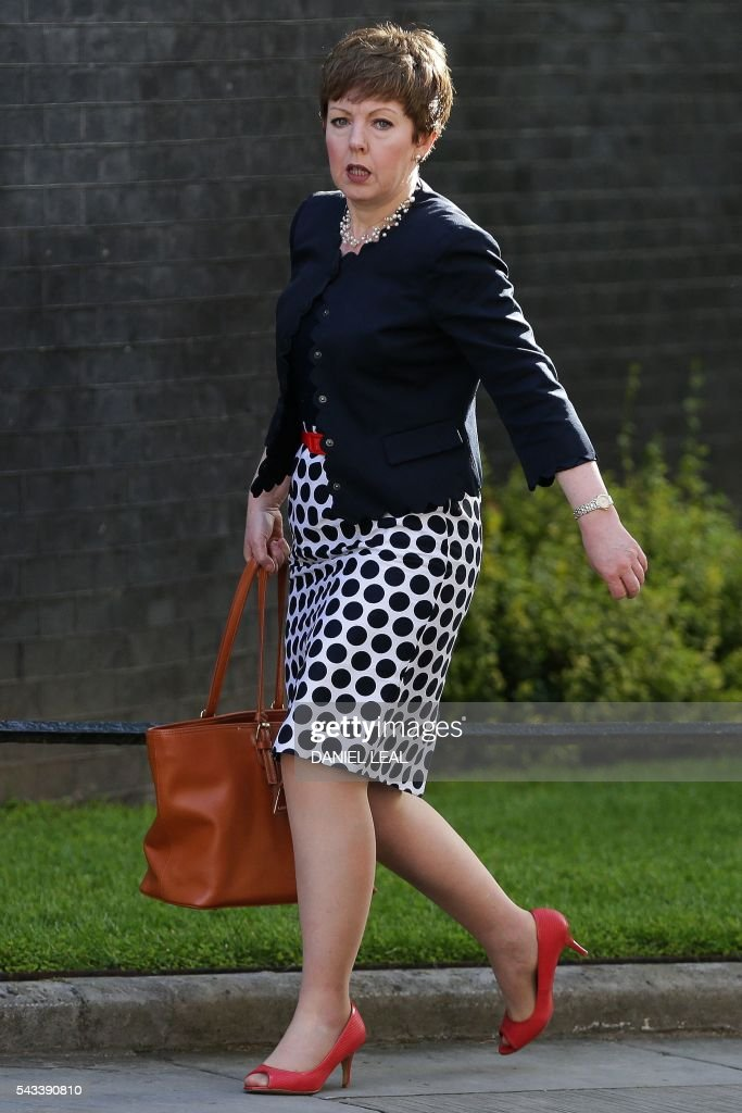 Lord Privy Seal and Leader of the British House of Lords Tina Stowell arrives in Downing Street in central London on June 28, 2016. EU leaders attempted to rescue the European project and Prime Minister David Cameron sought to calm fears over Britain's vote to leave the bloc as ratings agencies downgraded the country. Britain has been pitched into uncertainty by the June 23 referendum result, with Cameron announcing his resignation, the economy facing a string of shocks and Scotland making a fresh threat to break away. / AFP / Daniel Leal-Olivas