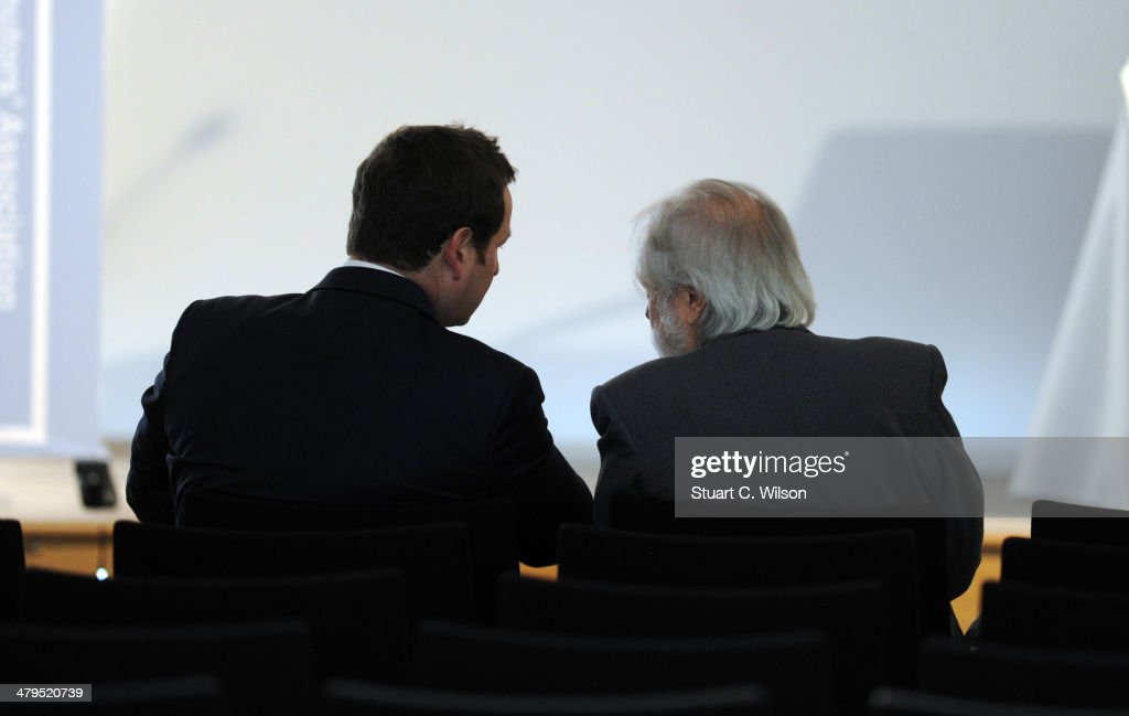 Lord Puttnam speaks to Ed Vaisey prior to his FDA (Film Distributors Association) Keynote Speech at the Royal Academy of Engineering on March 19, 2014 in London, England.