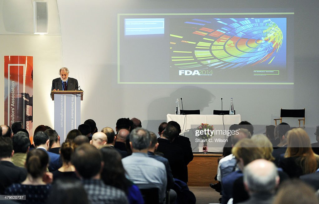 Lord Puttnam speaks to FDA (Film Distributors Association) members during his Keynote Speech at the Royal Academy of Engineering on March 19, 2014 in London, England.