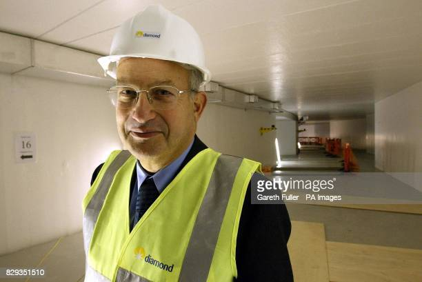 Lord Sainsbury Minister for Science and Innovation stands in the Diamond Light Synchrotron in Chilton Oxfordshire The huge circular machine the...