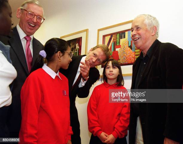 Lord Sainsbury of Preston Candover KG left Tate Director Nicholas Serrota centre and artist Howard Hodgkin right presenting the first set of this...