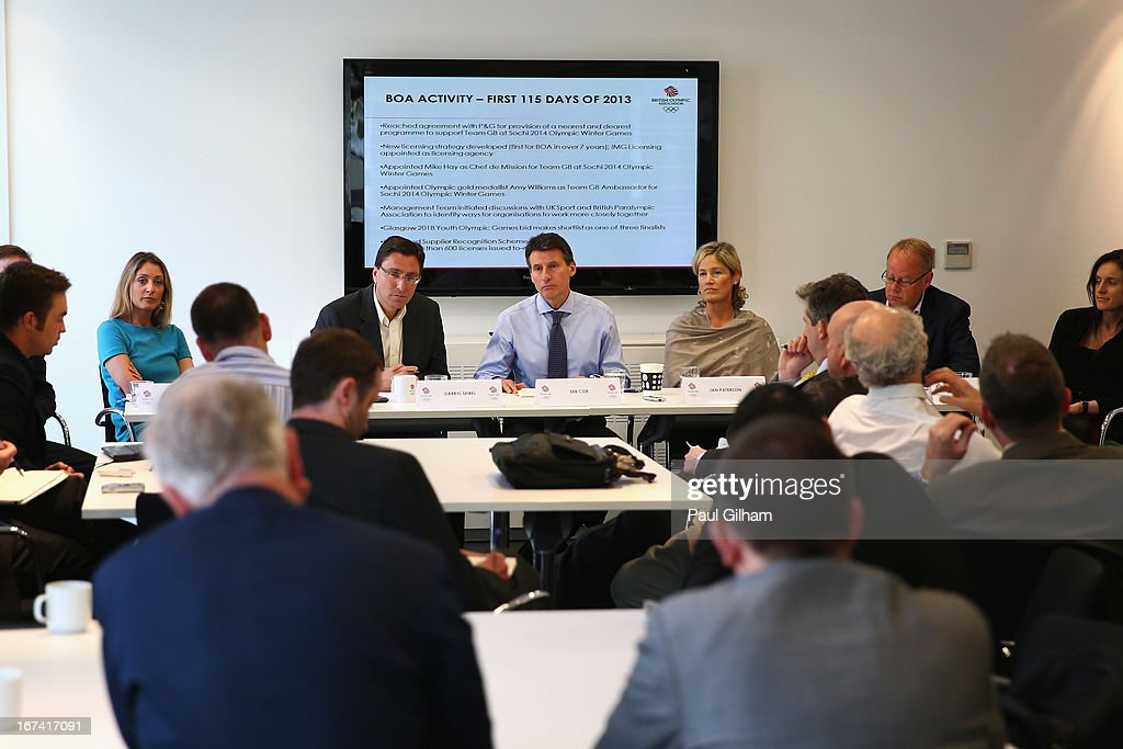 Lord Sebastian Coe and alongside members of the BOA talks to the media during a British Olympic Association Media Briefing at the BOA Headquarters on April 25, 2013 in London, England.