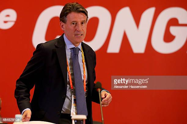 Lord Sebastian Coe arrives for the 50th IAAF Congress at the China National Convention Centre CNCC on August 20 2015 in Beijing China