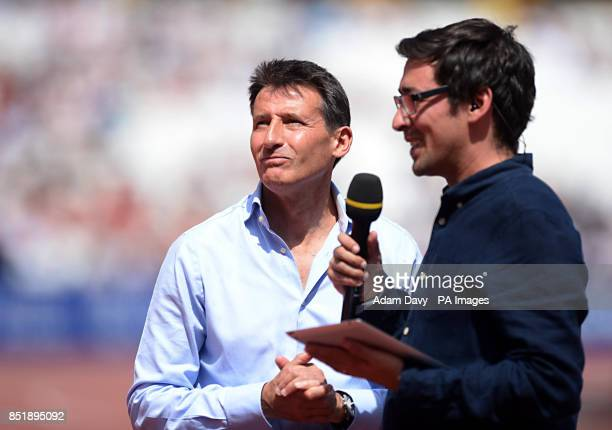 Lord Sebastian Coe is interviewed by TV personality Colin Murray prior to racing on day two of the IAAF London Diamond League meeting at the Olympic...