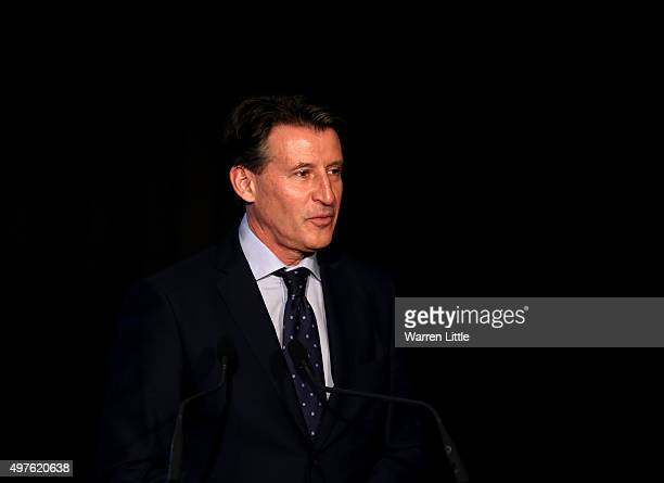 Lord Sebastian Coe Prestident of the International Association of Athletics Federation and Chairman of the British Olympic Association speaks during...