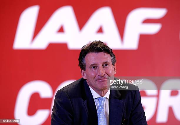 Lord Sebastian Coe reacts after being elected as the new IAAF President during the 50th IAAF Congress at the China National Convention Centre CNCC on...