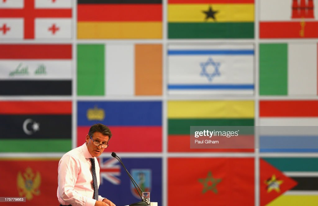 Lord Sebastian Coe speaks during the 49th IAAF Congress World Athletics Forum at the Crowne Plaza on August 8 2013 in Moscow Russia