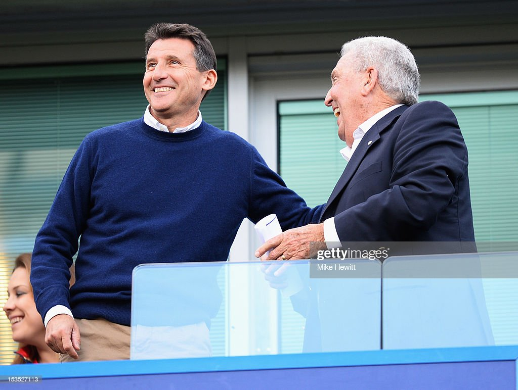 Lord Sebastian Coe (L) talks to ex-Chelsea manager Bobby Campbell prior to the Barclays Premier League match between Chelsea and Norwich City at Stamford Bridge on October 6, 2012 in London, England.