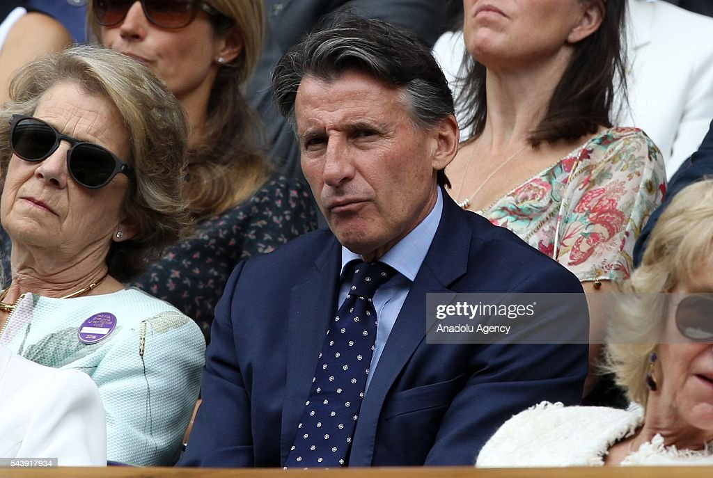 Lord Sebastian Coe watches the tennis match between Kei NIshikori of Japan and Julien Benneteau of France in the men's singles on day four of the 2016 Wimbledon Championships at the All England Lawn and Croquet Club in London, United Kingdom on June 30, 2016.