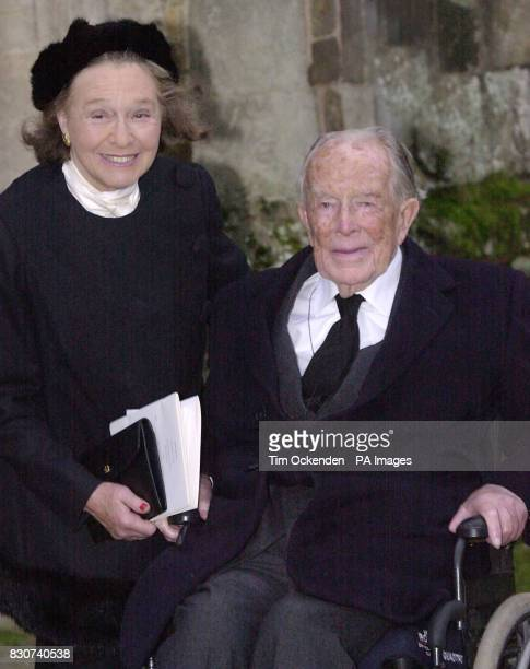 Lord Shawcross and his wife Lady Monique at the funeral of Tory peer Lord Hailsham who died at his London home aged 94 following a long illness and...