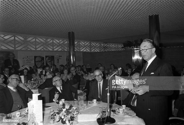 Lord Shawcross speaking at a reception prior to the International Publishing Corporation's National Press Awards 1968 luncheon at the Savoy Hotel in...
