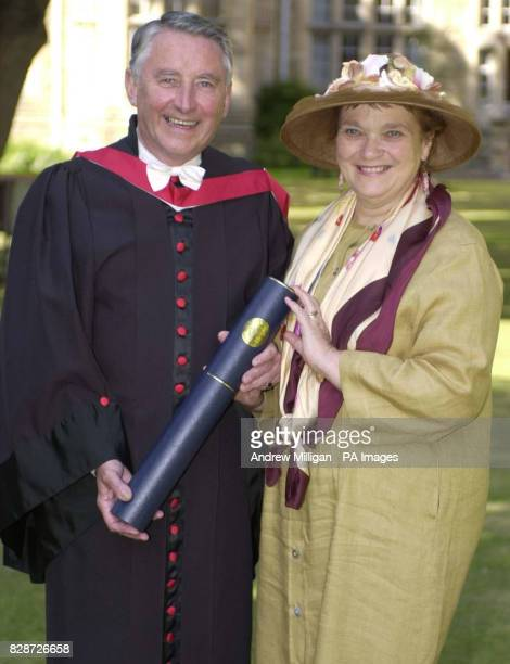 Lord Steel the former Liberal leader and Presiding Officer of the Scottish Parliament stands with his wife Lady Steel after receiving an honorary...