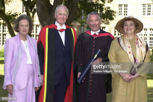 Lord Steel the former Liberal leader and Presiding Officer of the Scottish Parliament stands with his wife Lady Steel Menzies Campbell MP and his...