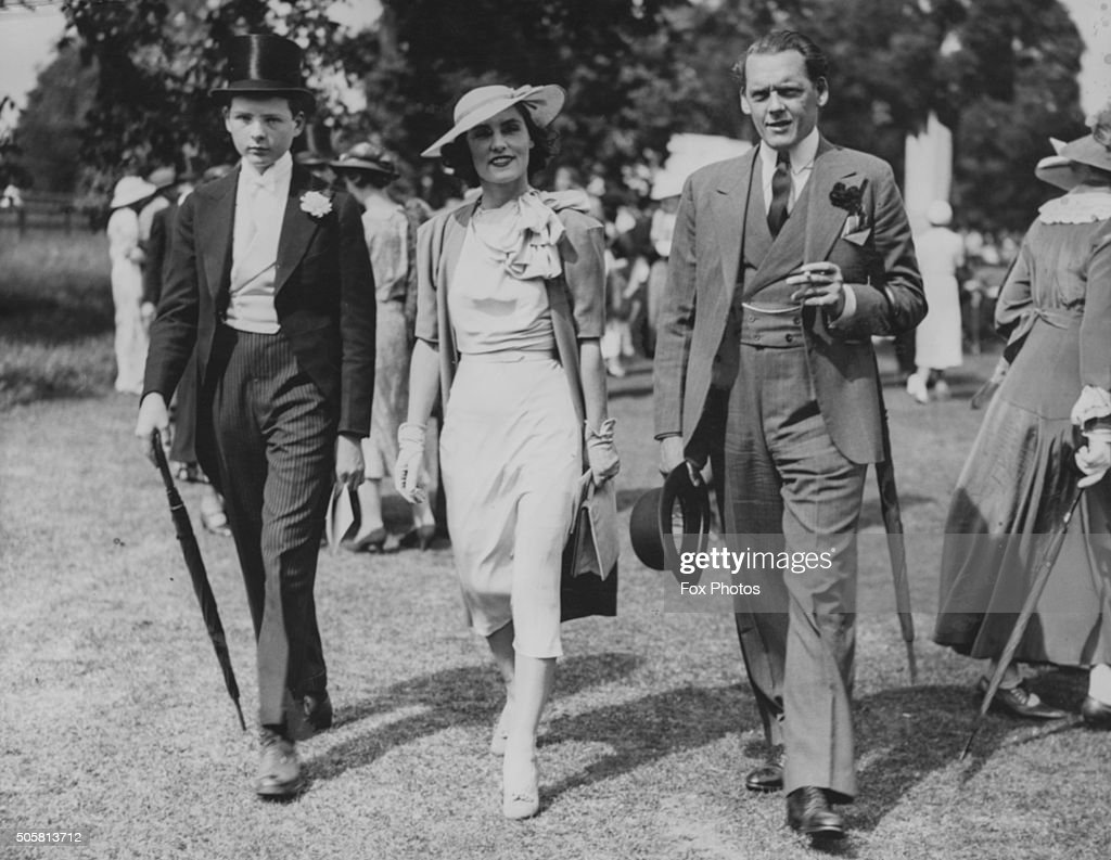 Lord Terence Plunket (right), 6th Baron Plunket, with his wife and eldest son Patrick at the Fourth of June Eton celebrations, England, June 4th 1937.