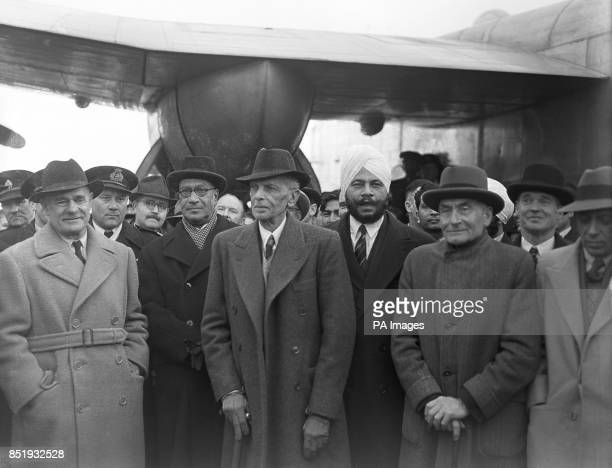 Lord Wavell Liaquat Ali Khan Mr Jinnah Sardar Baldev Singh Lord PethickLawrence and Pandit Nehru After being held up in Malta with engine trouble...