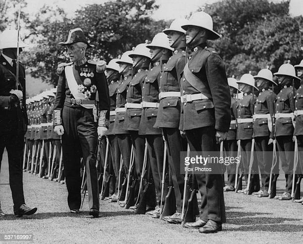 Lord Willingdon inspecting a Guard of Honour of Royal Marines before the installation ceremony of Lord Warden at Dover College England July 29th 1936