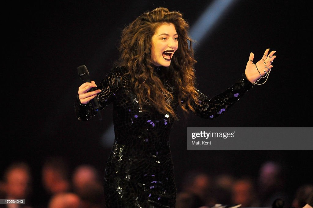 <a gi-track='captionPersonalityLinkClicked' href=/galleries/search?phrase=Lorde&family=editorial&specificpeople=3209104 ng-click='$event.stopPropagation()'>Lorde</a> accepts the award for International Female Solo Artist at The BRIT Awards 2014 at 02 Arena on February 19, 2014 in London, England.