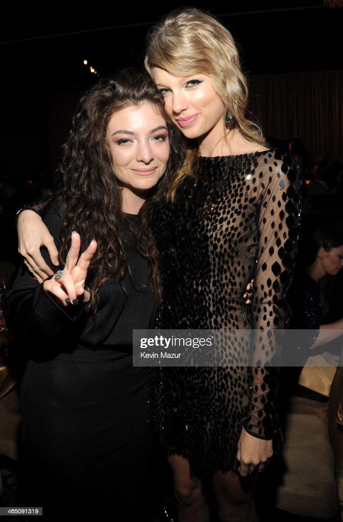 <a gi-track='captionPersonalityLinkClicked' href=/galleries/search?phrase=Lorde&family=editorial&specificpeople=3209104 ng-click='$event.stopPropagation()'>Lorde</a> and <a gi-track='captionPersonalityLinkClicked' href=/galleries/search?phrase=Taylor+Swift&family=editorial&specificpeople=619504 ng-click='$event.stopPropagation()'>Taylor Swift</a> during the 56th annual GRAMMY Awards Pre-GRAMMY Gala and Salute to Industry Icons honoring Lucian Grainge at The Beverly Hilton on January 25, 2014 in Los Angeles, California.
