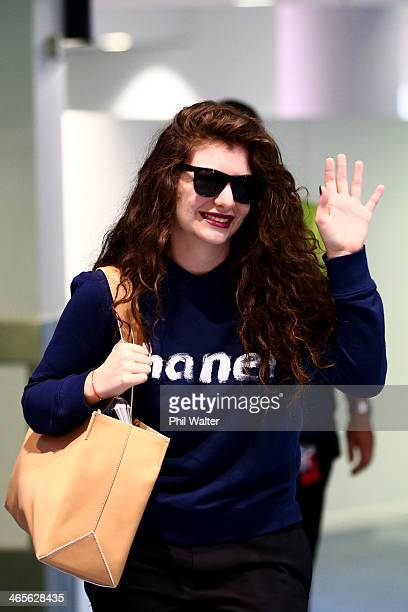 Lorde arrives at Auckland International Airport on January 29 2014 in Auckland New Zealand Lorde won two Grammy awards for both Song of the Year and...
