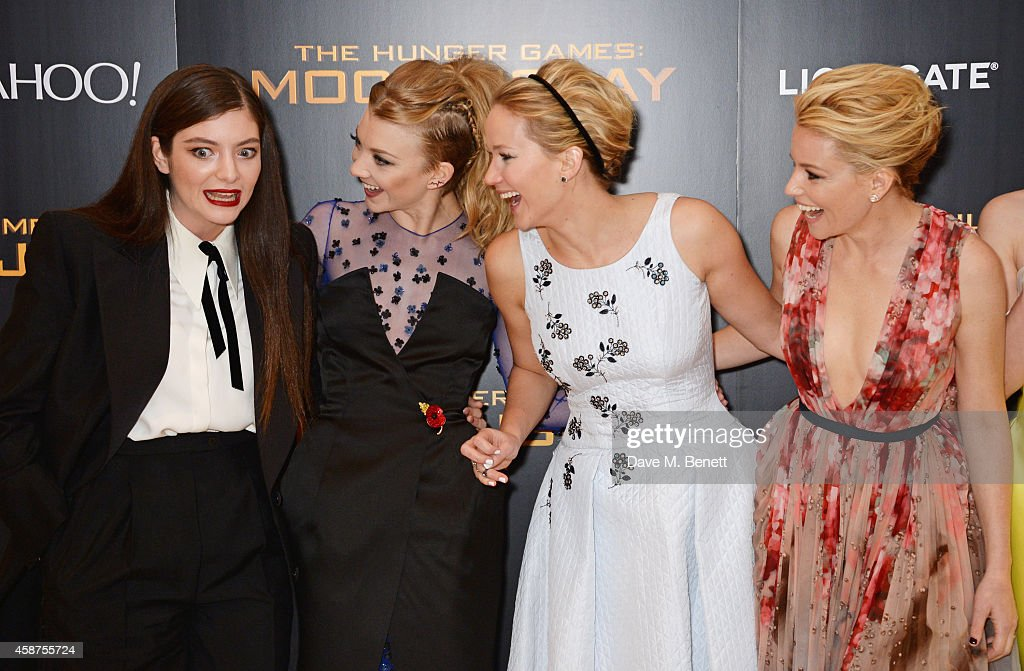 Lorde Natalie Dormer Jennifer Lawrence and Elizabeth Banks attend the World Premiere of 'The Hunger Games Mockingjay Part 1' at Odeon Leicester...