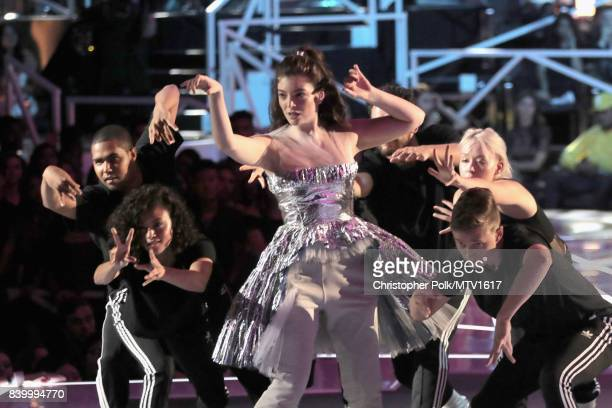 Lorde performs onstage during the 2017 MTV Video Music Awards at The Forum on August 27 2017 in Inglewood California