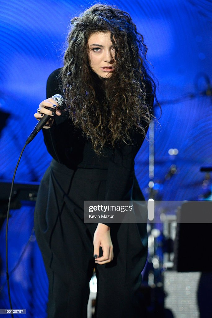 <a gi-track='captionPersonalityLinkClicked' href=/galleries/search?phrase=Lorde&family=editorial&specificpeople=3209104 ng-click='$event.stopPropagation()'>Lorde</a> performs onstage during the 56th annual GRAMMY Awards Pre-GRAMMY Gala and Salute to Industry Icons honoring Lucian Grainge at The Beverly Hilton on January 25, 2014 in Los Angeles, California.