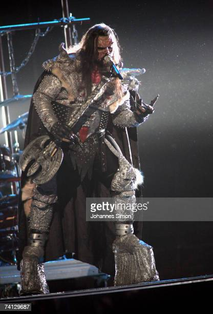 Lordi last year's Eurovision song contest winner from Finland in Athens performs during the second dress rehearsal for the Final on May 11 in...