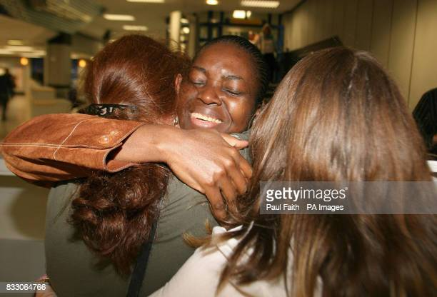 Lordorice Djountso arrives back at Belfast International Airport after spending two months in an English detention centre