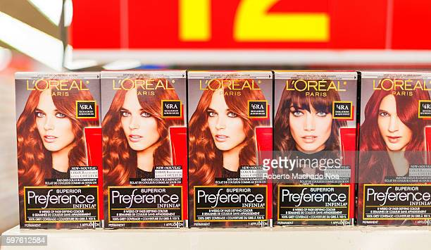 Loreal Superior Preference hair color packets arranged in store Loreal SA is a French cosmetics company headquartered in Clichy It is the world's...