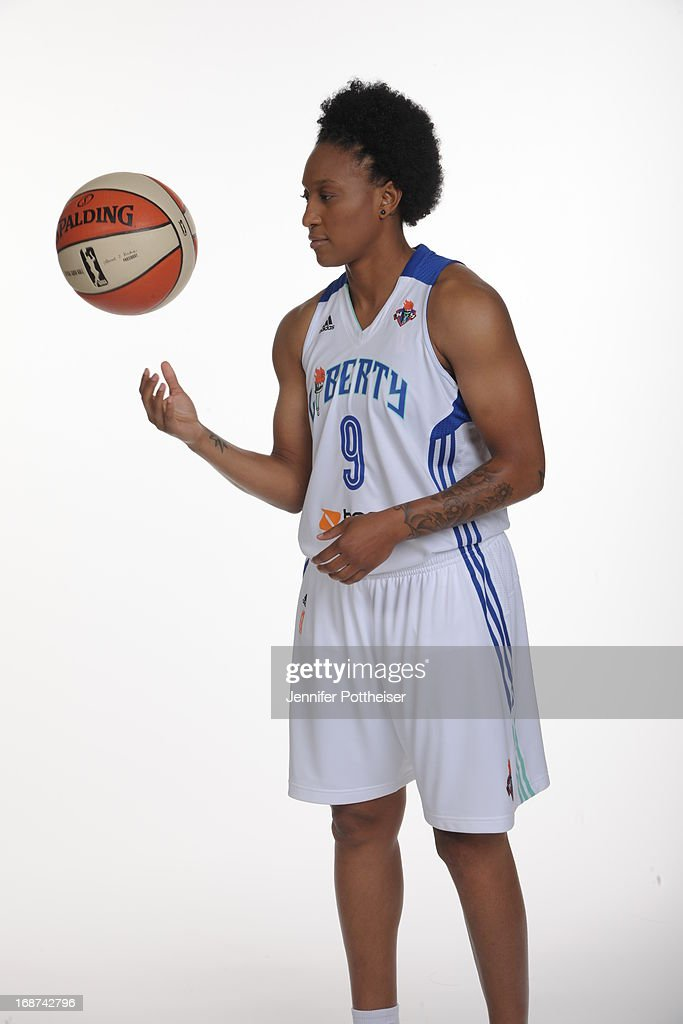 Loree Moore #9 of the New York Liberty poses for a photo during WNBA Media Day on May 13, 2013 at the Madison Square Garden Training Facility in Tarrytown, New York.