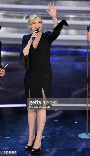 Lorella Cuccarini attends the closing night of the 62th Sanremo Song Festival at the Ariston Theatre on February 18 2012 in Sanremo Italy
