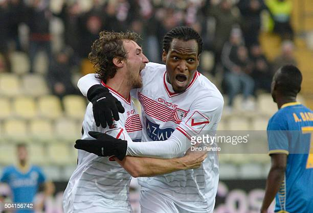 Loremzo Lollo of Carpi FC celebrates with his team mate Jerry Mbakogu after scoring his team's second goal during the Serie A match between Carpi FC...