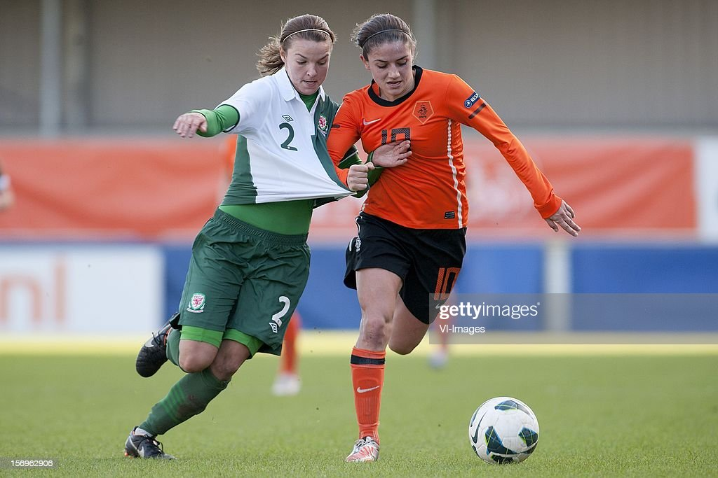 Loren Dykes of Wales, Daniëlle van de Donk of Holland during the Women's international friendly match between Netherlands and Wales, at Tata steel stadium on November 25, 2012 in Velzen-Zuid, Netherlands.