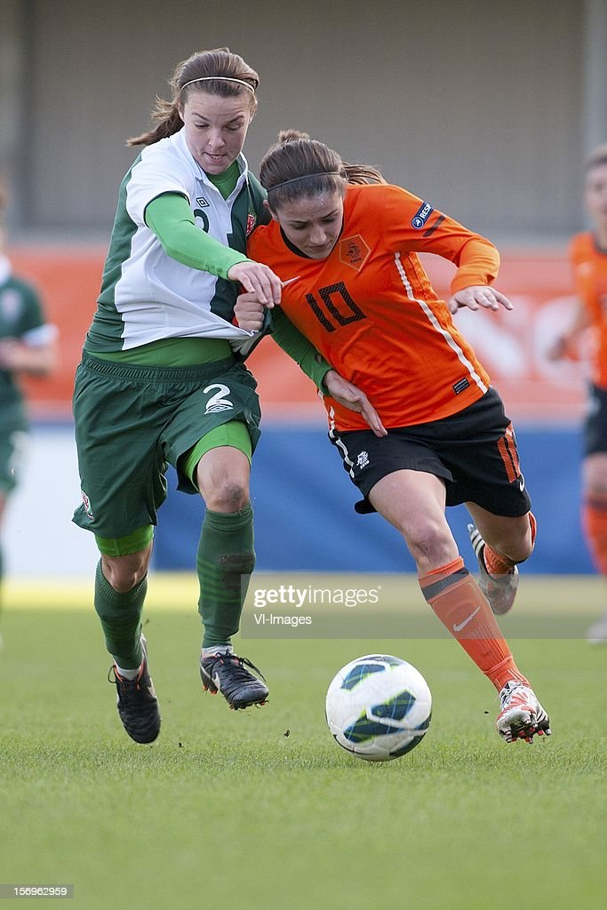 Loren Dykes of Wales, Daniëlle van de Donk of Holland during the Women's international friendly match between Netherlands and Wales, at Tata steel stadium on November 25, 2012 in Velzen-Zuid, Netherlands.