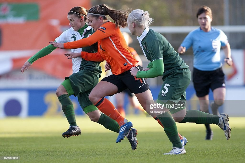 Loren Dykes of Wales, Lieke Martens of Holland, Lauren Price of Wales during the Women's international friendly match between Netherlands and Wales, at Tata steel stadium on November 25, 2012 in Velzen-Zuid, Netherlands.