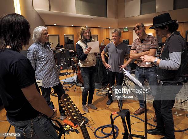 Loren Gold John Corey Andy Burrows Billy Nicholls Simon Townshend and Frank Simes during rehearsals for The Who's 50th Anniversary Gig for The...
