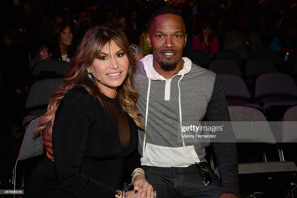 Loren Ridinger and Jamie Foxx at the 2014 Market America World Conference at American Airlines Arena on February 8, 2014 in Miami, Florida.