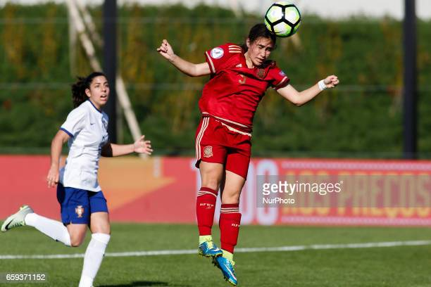 Lorena Navarro of Spain during the UEFA U17 Women's Championship Qualifier match between Spain and Portugal at Cidade do Futebol stadium on March 28...