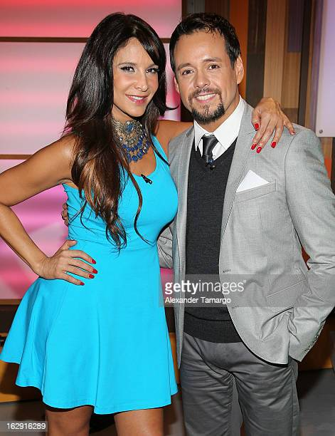 Lorena Rojas and Rodrigo Vidal celebrate Univision's Tlnovelas cable network first anniversary on Despierta America at Univision Headquarters on...