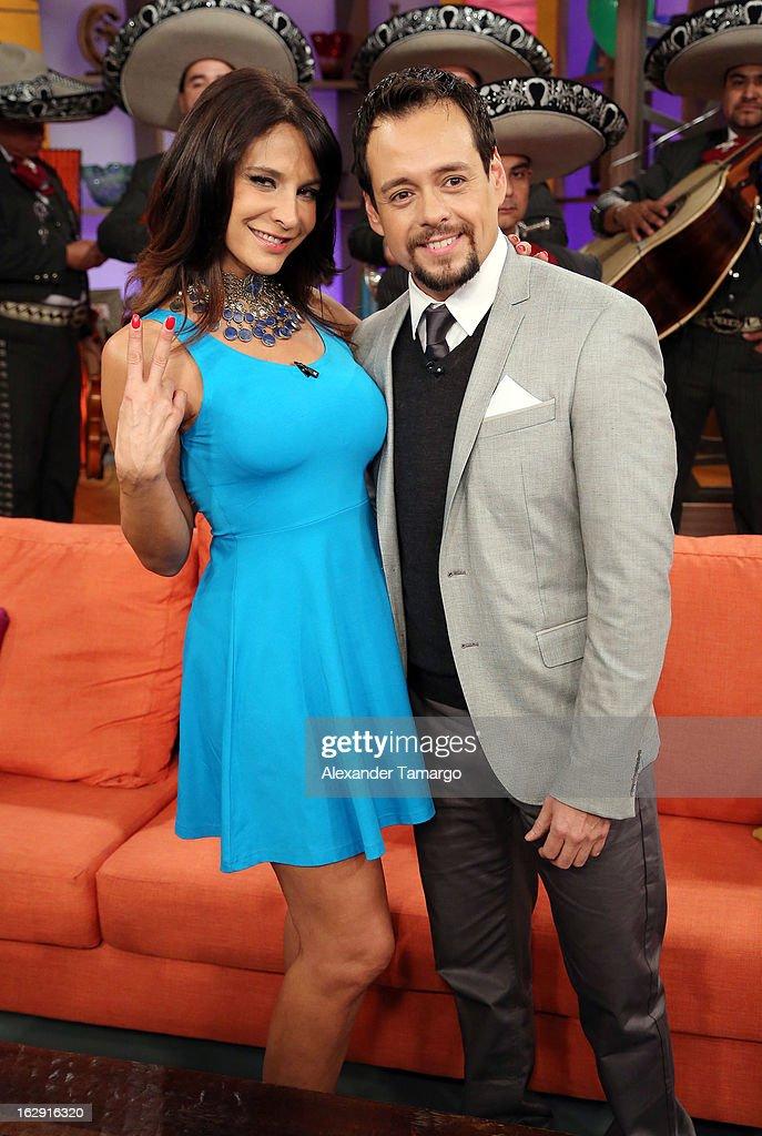 Lorena Rojas and Rodrigo Vidal celebrate Univision's Tlnovelas cable network first anniversary on Despierta America at Univision Headquarters on March 1, 2013 in Miami, Florida.