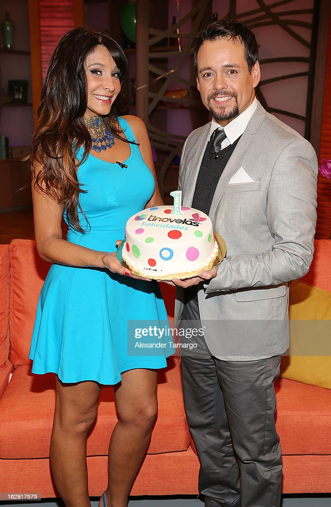 Lorena Rojas and Rodrigo Vidal celebrate Univision's Tlnovelas cable network first anniversary on Despierta America at Univision Headquarters on March 1, 2013 in Miami, Florida.