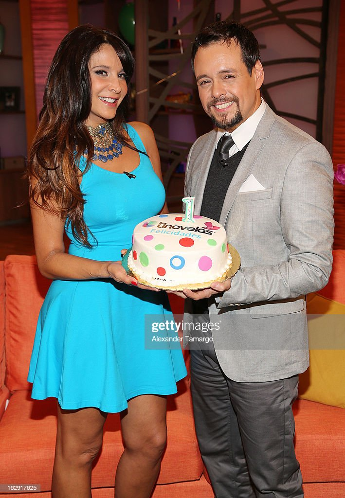 <a gi-track='captionPersonalityLinkClicked' href=/galleries/search?phrase=Lorena+Rojas&family=editorial&specificpeople=620276 ng-click='$event.stopPropagation()'>Lorena Rojas</a> and Rodrigo Vidal celebrate Univision's Tlnovelas cable network first anniversary on Despierta America at Univision Headquarters on March 1, 2013 in Miami, Florida.